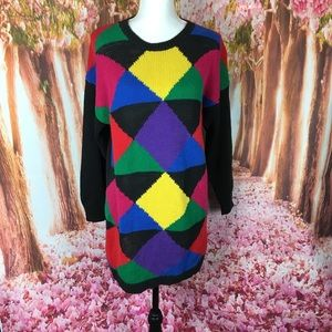 Vintage colorblock sweater 80's retro